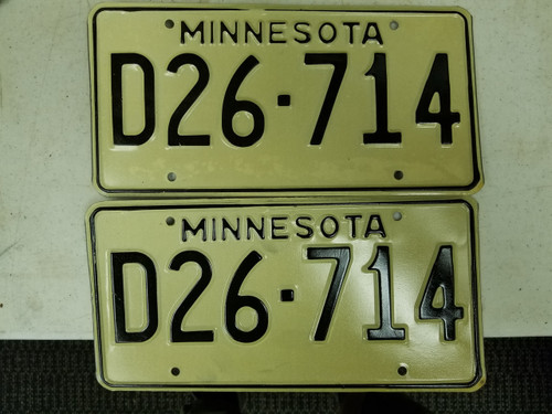Minnesota Dealer License Plate D26-714 Pair