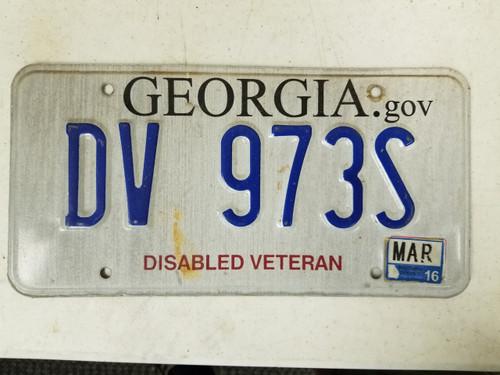 2016 Georgia Disabled Veteran License Plate DV 973S