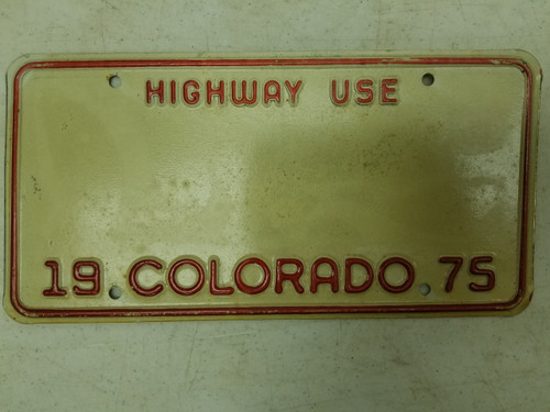 1975 Colorado Highway in Use License Plate Blank