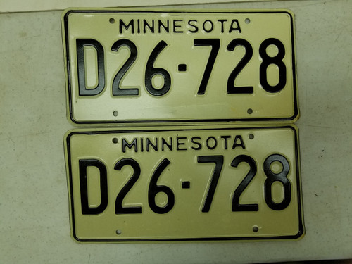 Minnesota Dealer License Plate D26-728 Pair