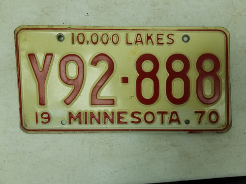 1970 Minnesota 10,000 License Plate Y92-888 Triple Eight