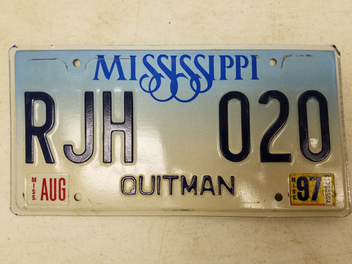 1997 Mississippi Quitman County License Plate RJH 020
