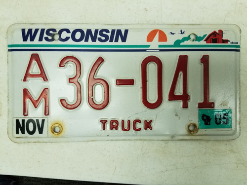 2005 Wisconsin Truck License Plate 36-041