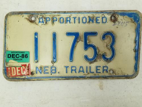 1986 Nebraska Apportioned Trailer License Plate 11753
