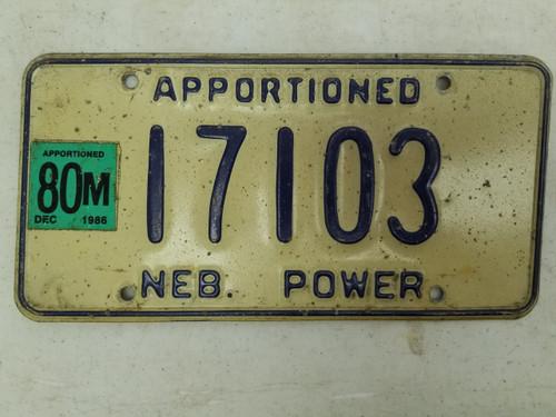 1986 Nebraska Power Trailer License Plate 17103