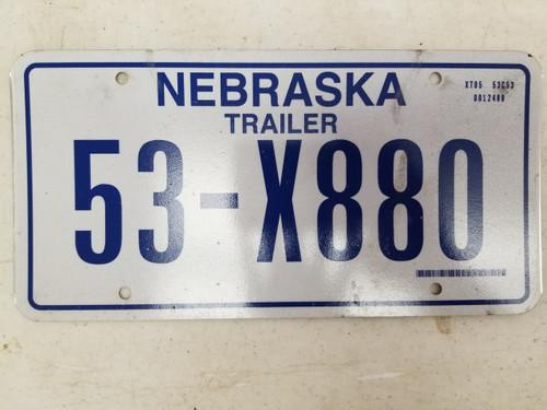 1986 Nebraska Trailer License Plate 53-X880