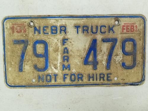 1994 Nebraska Not For Hire Farm Truck License Plate 79 479