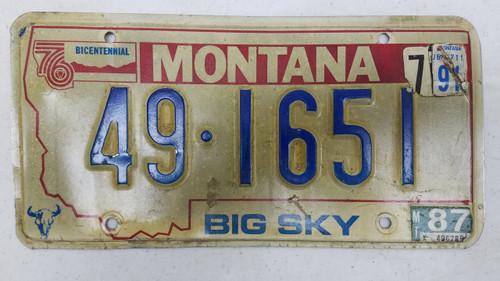 1987 Tag Montana '76 Bicentennial Big Sky Cow Skull Park County License Plate 49-1651