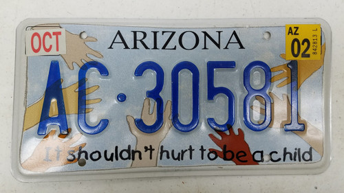 Expired 2002 Tag ARIZONA It Shouldn't Hurt to Be a Child License Plate AC-30581 Child Hands