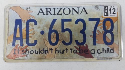 2012 ARIZONA It Shouldn't Hurt to Be a Child License Plate AC-65378 Children Hand