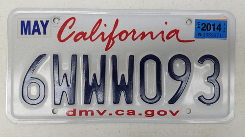2014 CALIFORNIA dmv.ca.gov License Plate 6WWW093