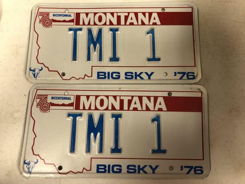 1976 MONTANA Big Sky '76 Bicentennial License Plate TMI-1 PAIR TMI Too Much Information Cow Skull