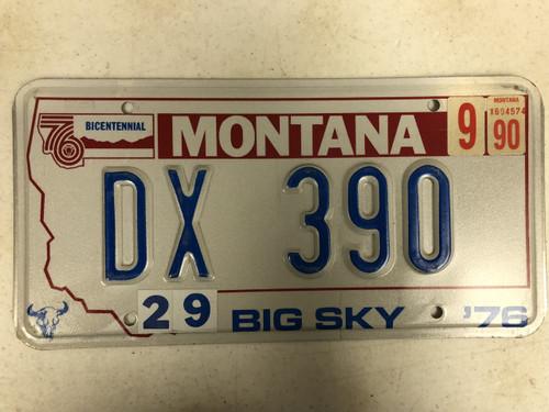 1976 (1990 Tag) MONTANA Big Sky '76 Bicentennial License Plate DX-390 Cow Skull