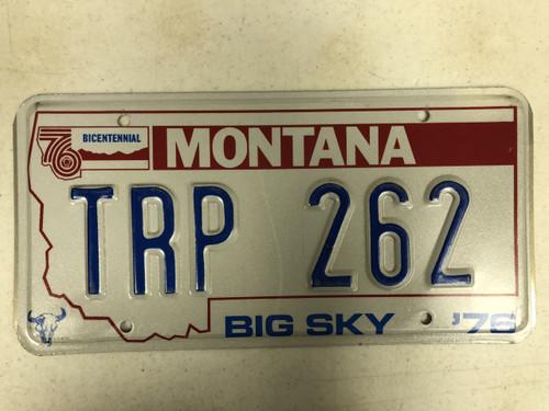 1976 MONTANA Big Sky '76 Bicentennial License Plate TRP-262 Cow Skull