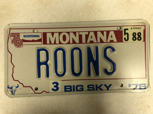 1976 (1988) MONTANA Big Sky '76 Bicentennial License Plate ROONS Cow Skull