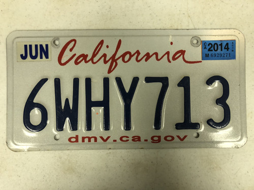 2014 Tag CALIFORNIA dmv . ca . gov License Plate 6WHY713 Why State DMV Website