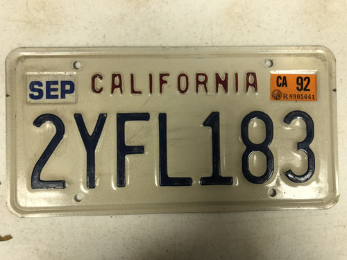 1992 Tag CALIFORNIA License Plate 2YFL183