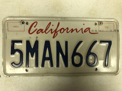 Expired CALIFORNIA License Plate 5MAN667