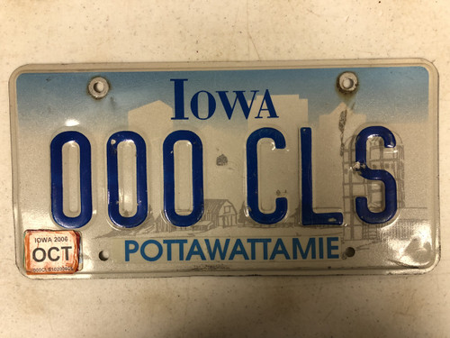 October 2006 Tag IOWA Pottawattamie County License Plate 000-CLS Farm Silo City Silhouette