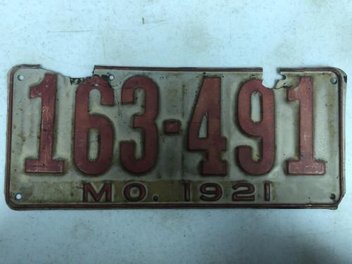 DMV Clear 1921 MISSOURI Passenger License Plate YOM Clear 163-491 MO
