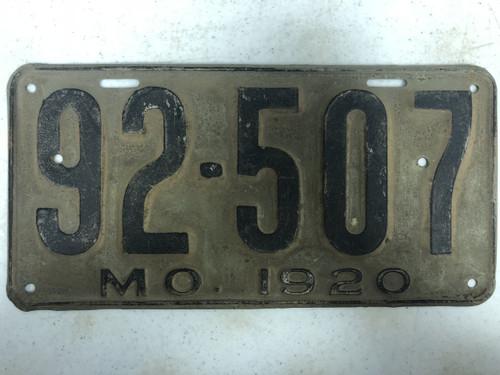 DMV Clear 1920 MISSOURI Passenger LLC License Plate YOM Clear 92-507 MO