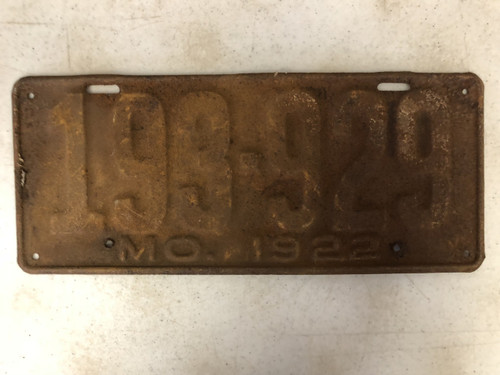 DMV Clear 1922 MISSOURI Passenger License Plate YOM Clear 193-929 MO