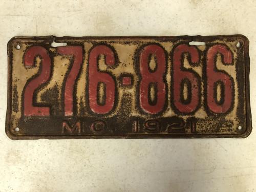 DMV Clear 1921 MISSOURI Passenger License Plate YOM Clear 276-866 MO