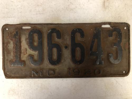 DMV Clear 1920 MISSOURI Passenger License Plate YOM Clear 196-643 MO