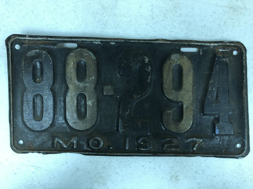 DMV Clear 1927 MISSOURI Shorty Passenger License Plate YOM Clear 88-294 MO