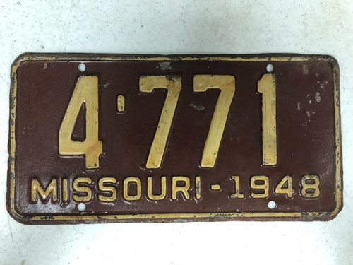1948 MISSOURI License Plate 4-771