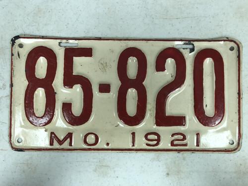 DMV Clear 1921 MISSOURI Passenger License Plate YOM Clear 85-820 MO