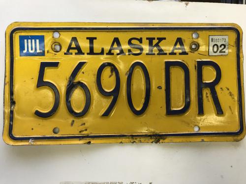 July 2002 Alaska License Plate 5690-DR.
