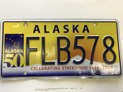 expired 2009 Alaska celebrating state hood 50 years License Plate FLB-578.
