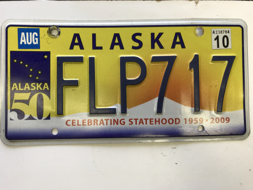 August  2009 (2010 tag) Alaska celebrating state hood 50 years License Plate FLP-717.