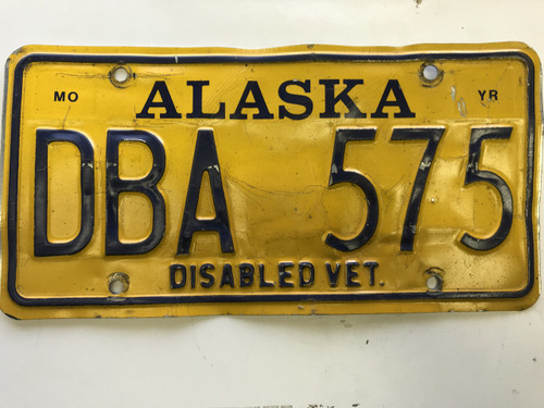 expired Alaska Disabled veteran License Plate DBA-575.