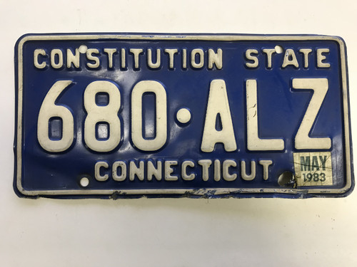 May 1983 Connecticut License Plate 680-ALZ.