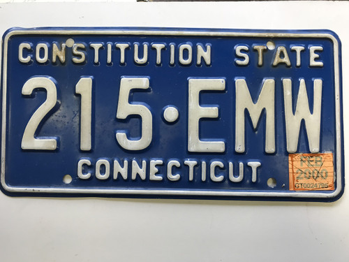 February 2000, Connecticut License Plate 215-EMW.