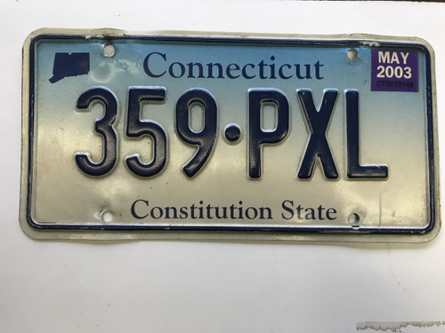 May 2003, Connecticut License Plate 359-PXL.