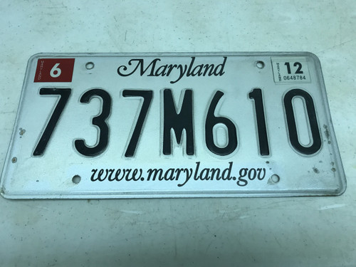 June 2012 , white Maryland License Plate 737M610.