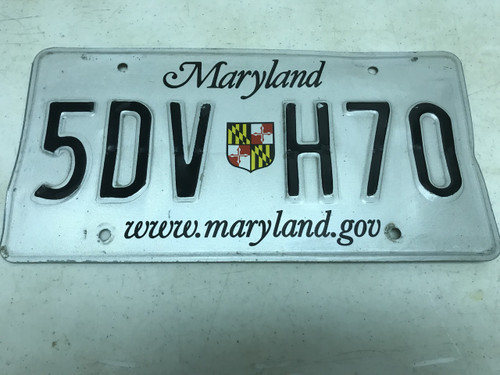 Expired , white Maryland License Plate 5DV-H70.