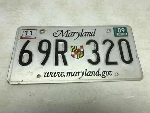 November 2009 , white Maryland License Plate 69R-320.