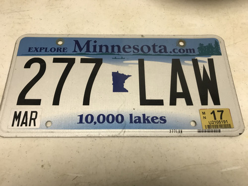 March 2017, white Minnesota License Plate 277-LAW.