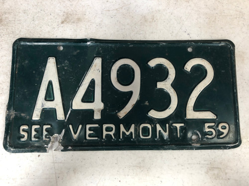 1959 See VERMONT License Plate A4932