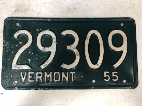 1955 VERMONT License Plate 29309