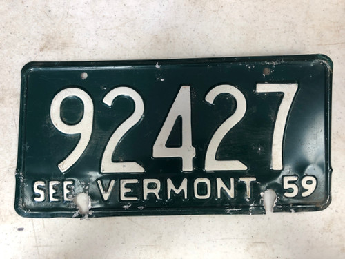 1959 See VERMONT License Plate 92427