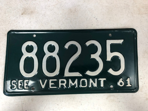 1961 See VERMONT License Plate 88235