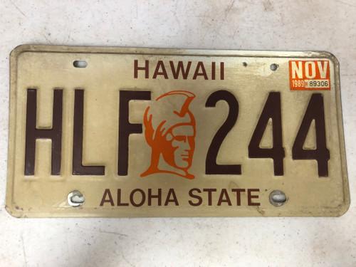 November 1989 Tag HAWAII Aloha State License Plate HLF-244