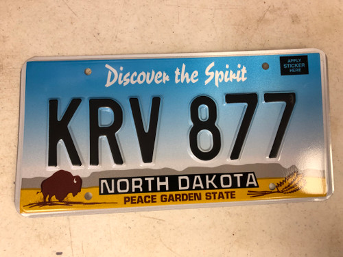 Expired NORTH DAKOTA Peace Garden State License Plate KRV-877 Buffalo Wheat