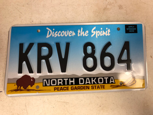 Expired NORTH DAKOTA Peace Garden State License Plate KRV-864 Buffalo Wheat