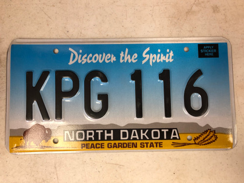 Expired NORTH DAKOTA Peace Garden State License Plate KPG-116 Buffalo Wheat